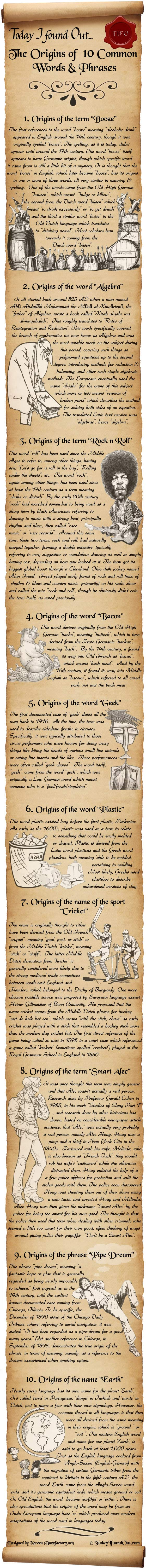 The Origins of 10 Common Words and Phrases Infographic