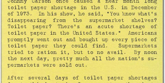 toilet paper shortage caused by Johnny Carson