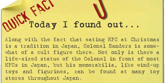 embed along with the fact that eating kfc at christmas is a tradition in japan colonel sanders is somewhat of a cult figure there