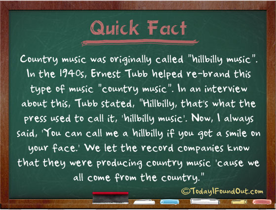 Country Music Was Originally Called Hillbilly Music