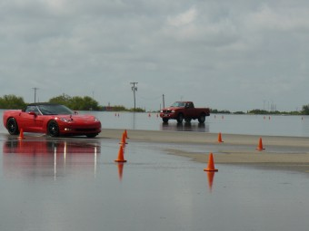 Racing the Corvette on the wet track with the cone fixer in the truck. :-)