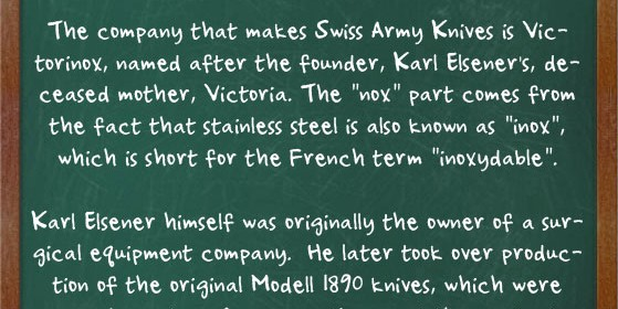 Swiss Army Knife Facts
