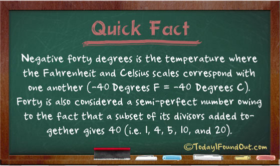 40 degrees is the temperature where the fahrenheit and celsius