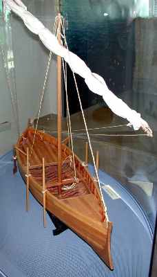 A recreation of a Galilian boat with a starboard tiller