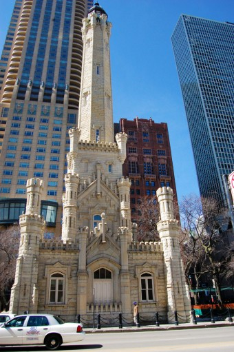 The Chicago Water Tower, the only public building in the burn area to survive the fire.