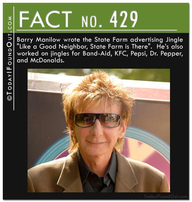 Barry Manillow wrote the State Farm advertising jingle like a good neighbor state farm is their