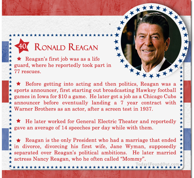 100 facts about us presidents 40 ronald reagan