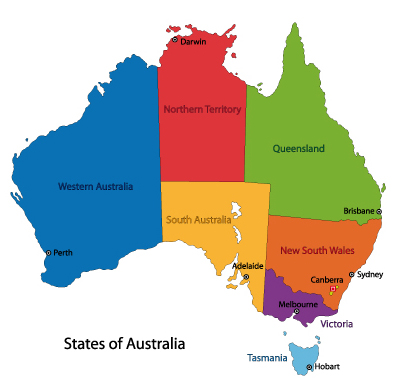 Map Of Australia With States And Capitals.The Origin Of The Names Of Australia S States And Territories And