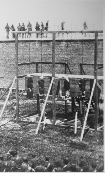 Execution of the conspirators in Lincoln's assassination, including Mary Surratt