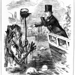 M0012507 Caricature: Faraday giving his card to Father Thames.