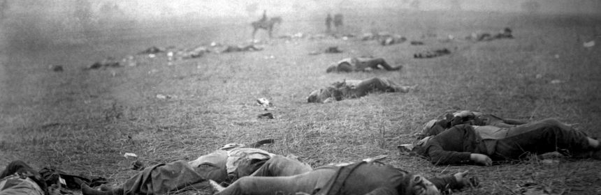 A Harvest of Death. Gettysburg, July 1863. Timothy O'Sullivan. (War Dept.) Exact Date Shot Unknown NARA FILE #: 165-SB-36 WAR & CONFLICT BOOK #:  253