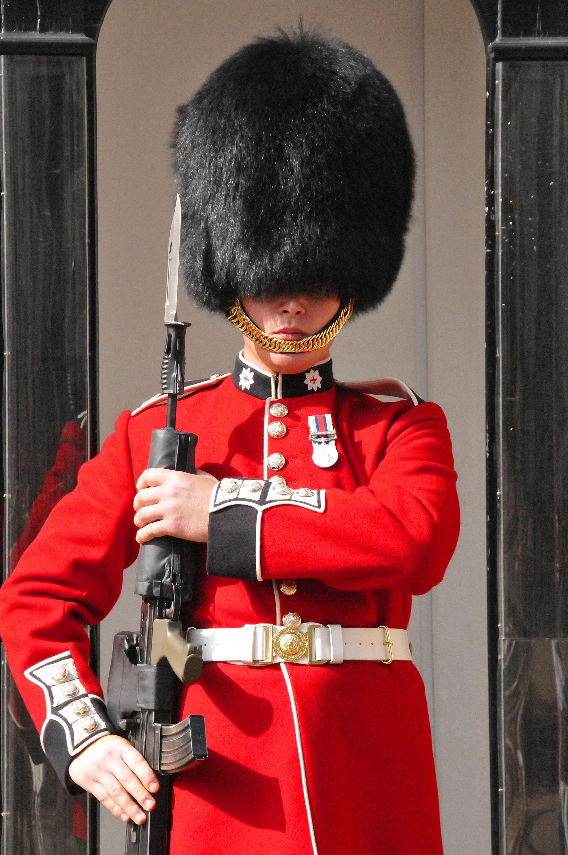 "8c6869df54a ""The Queen s Guard"" comprise of various soldiers tasked with guarding the  residences of the Queen and"