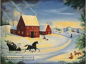 One Horse Open Sleigh Painting