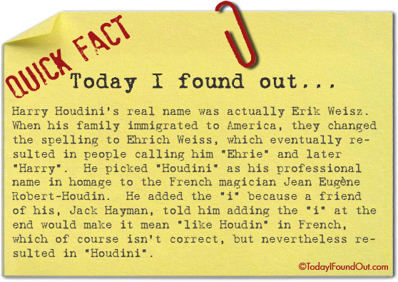 What Harry Houdini S Real Name Was