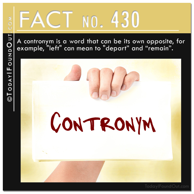 A contronym is a word that can be its own opposite, for example, left can mean to depart and remain.