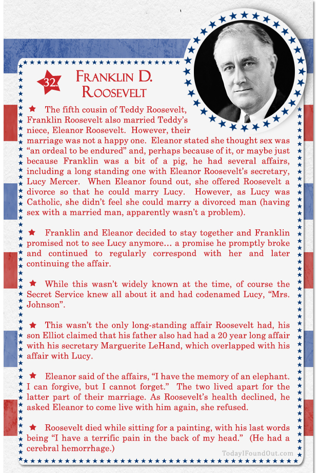 100+ Facts About US Presidents 32- Franklin D Roosevelt