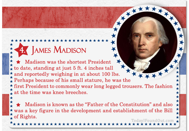 100+ Facts About US Presidents 4- James Madison