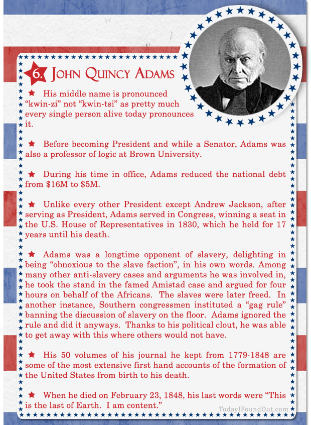 100+ Facts About US Presidents 6- John Quincy Adams