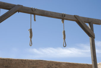 Double Nooses in Gallows in a Courtyard - path included